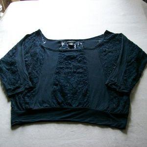 rue21 Navy Blue Lace Crop Top